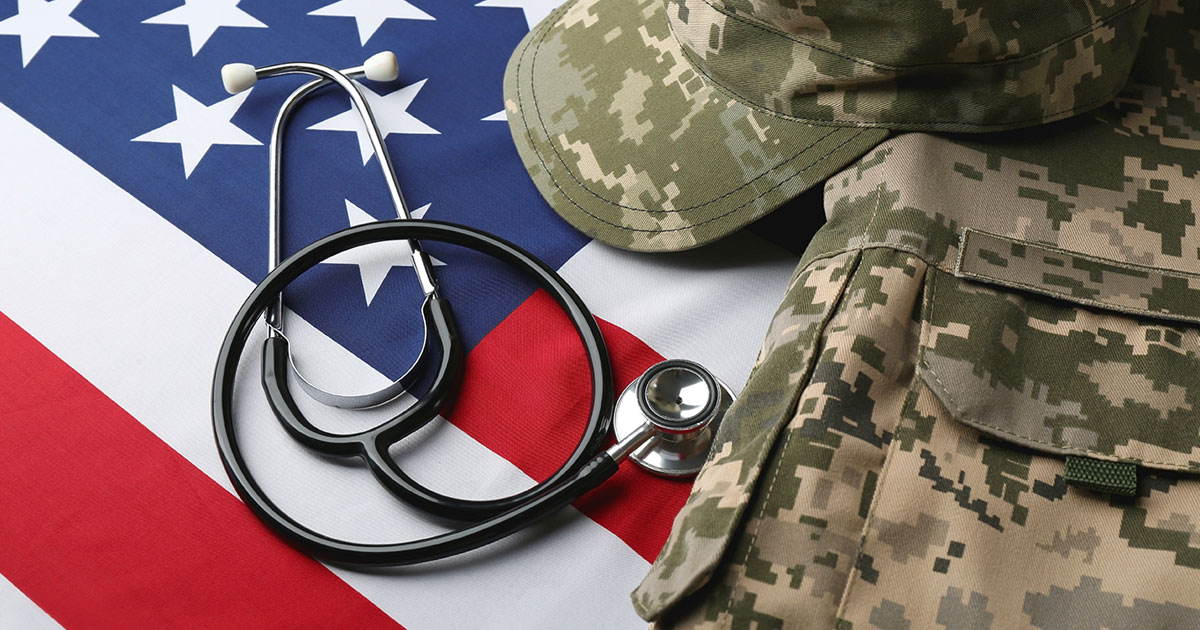 Stethoscope and Military Uniform on American Flag